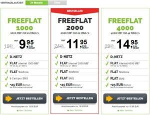 Freenet Freeflat: Allnet-Flat, 1 GB, D2-Netz, 9,95 Euro / mit 2GB für 11,95€ / 4GB für 14,95 Euro