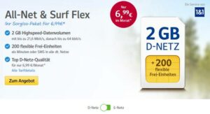 GMX Mobile Handytarif All-Net & Surf Flex ab 6,99 €: 2GB/ 3GB/ 4GB, D2-Netz