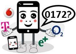 0172 Anbieter, Netz und Vorwahl