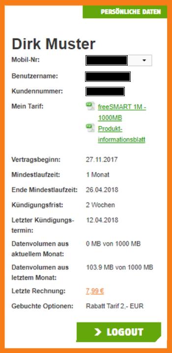 freenetMobile FreeSMART 1000 Test - Online-Kundencenter im Überblick